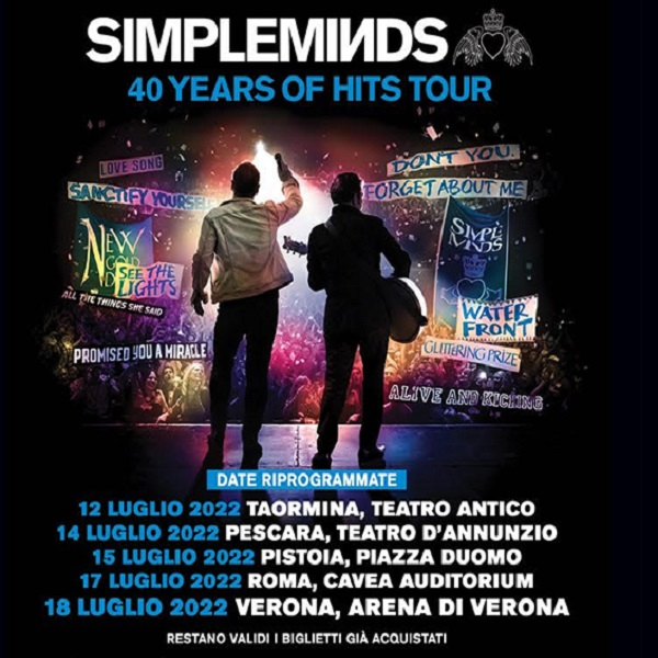Simple Minds - 40 Years of Hits Tour 2022 - CONCERTO POSTICIPATO